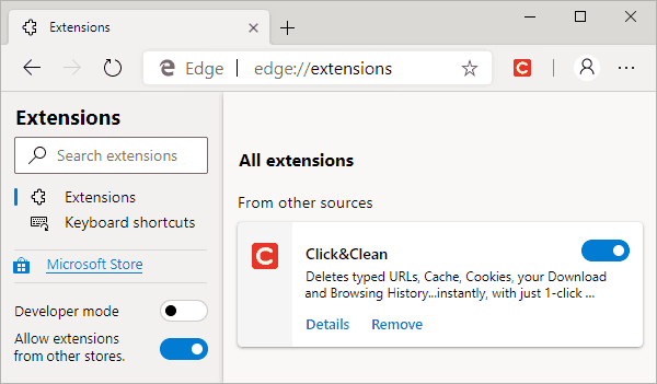 Chromium-Based Microsoft Edge Extensions Page