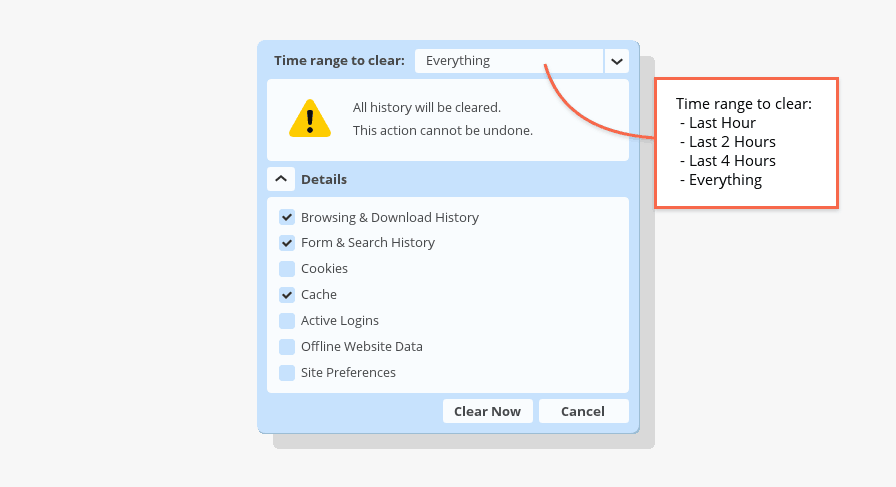 Clear Private Data Dialog