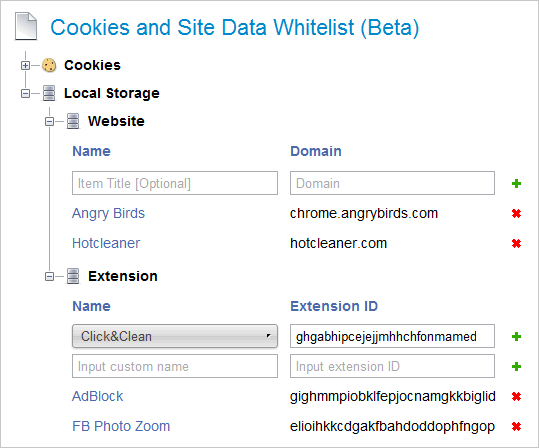Click and Clean Whitelist
