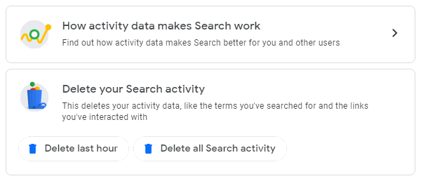 Delete your search activity from your Google account