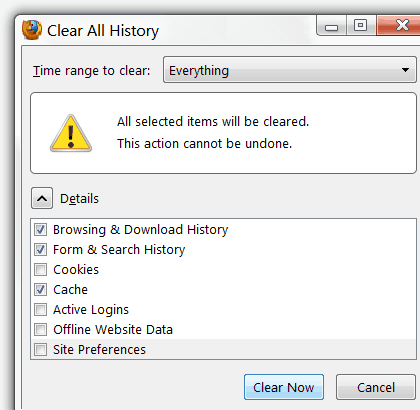 Firefox 'Clear Private Data' dialog