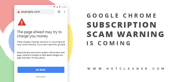 Chrome 71 Subscription Scam Warning