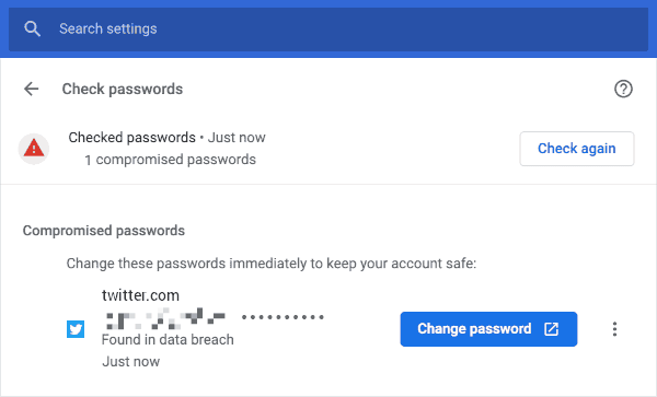 Google Chrome 86 a Quick Change Password Button