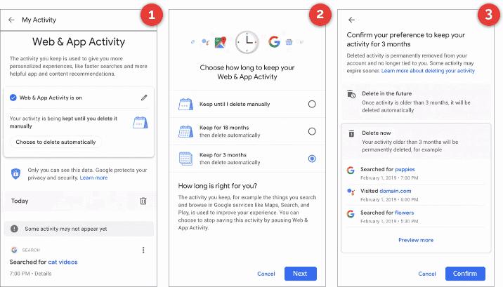 Google Delete Activity Data Automatically