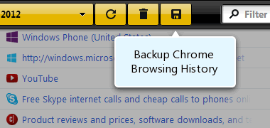 Backup History button
