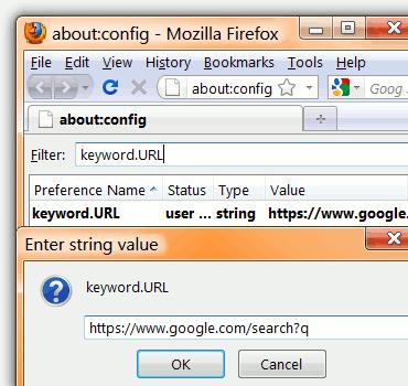 Change Firefox Address Bar Search Provider