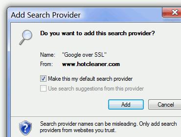 Add Google Secure Search Provider