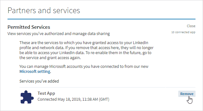 Connected Services and Apps to Your LinkedIn Account